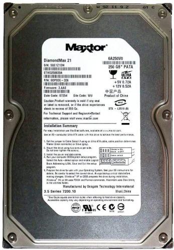 """Жесткий диск Maxtor 6A250V0 250Gb 7200 IDE 3.5"""" HDD"""