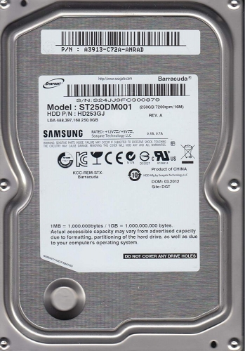 "Жесткий диск Samsung HD253GJ 250Gb 7200 SATAII 3.5"" HDD"