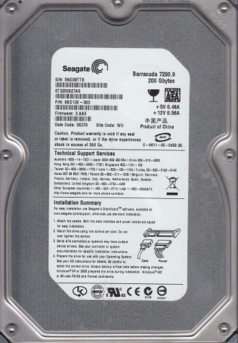"Жесткий диск Seagate ST3200827AS 200Gb 7200 SATAII 3.5"" HDD"