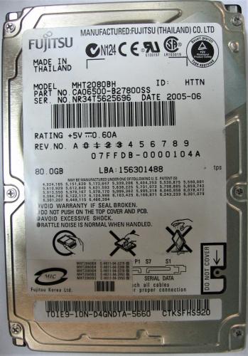 "Жесткий диск Fujitsu MHT2080BH 80Gb 5400 SATA 2,5"" HDD"