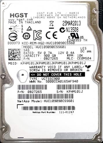 "Жесткий диск Hitachi HUC109090CSS601 900Gb 10000 SAS 2,5"" HDD"