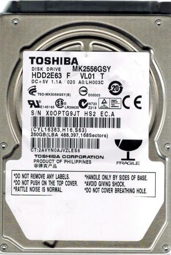 "Жесткий диск Toshiba MK2556GSY 250Gb 7200 SATAII 2,5"" HDD"