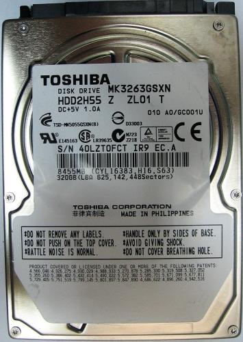 "Жесткий диск Toshiba MK3263GSXN 320Gb 5400 SATAII 2,5"" HDD"