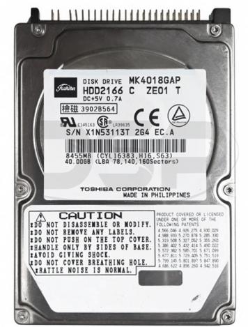 """Жесткий диск Toshiba HDD2166 40Gb 4200 IDE 2,5"""" HDD"""