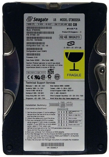 "Жесткий диск Seagate ST360020A 60Gb 5400 IDE 3.5"" HDD"