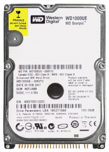"Жесткий диск Western Digital WD1000UE 100Gb 5400 IDE 2,5"" HDD"