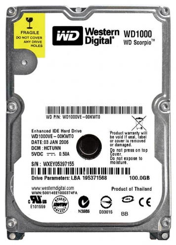 "Жесткий диск Western Digital WD1000VE 100Gb 5400 IDE 2,5"" HDD"