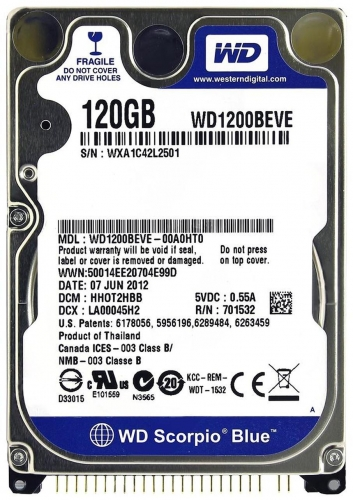 "Жесткий диск Western Digital WD1200BEVE 120Gb 5400 IDE 2,5"" HDD"