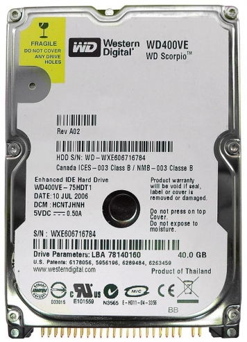 "Жесткий диск Western Digital WD400VE 40Gb 5400 IDE 2,5"" HDD"