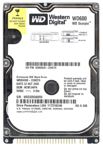 "Жесткий диск Western Digital WD600UE 60Gb 5400 IDE 2,5"" HDD"