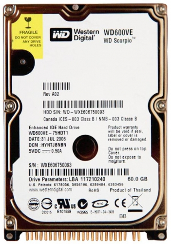 "Жесткий диск Western Digital WD600VE 60Gb 5400 IDE 2,5"" HDD"